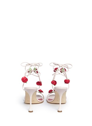 Back View - Click To Enlarge - Manolo Blahnik - 'Xafiore' rose appliqué leather tie sandals