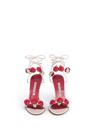 Front View - Click To Enlarge - Manolo Blahnik - 'Xafiore' rose appliqué leather tie sandals