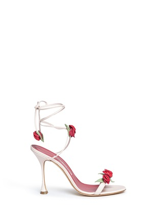 Main View - Click To Enlarge - Manolo Blahnik - 'Xafiore' rose appliqué leather tie sandals
