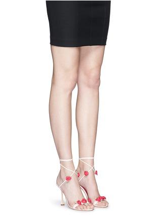 Figure View - Click To Enlarge - Manolo Blahnik - 'Xafiore' rose appliqué leather tie sandals
