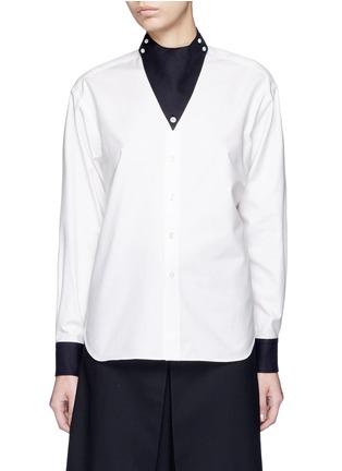 Hyke-Triangle collar cotton shirt
