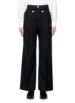 Main View - Click To Enlarge - Hyke - Foldover front wide leg pants