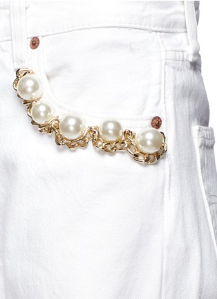 Detail View - Click To Enlarge - Forte Couture - Faux pearl chain distressed cutout jeans