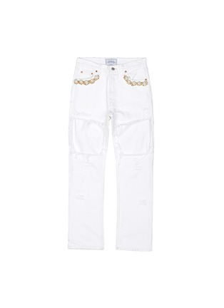Main View - Click To Enlarge - Forte Couture - Faux pearl chain distressed cutout jeans