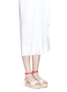 ISA TAPIA 'Florence' cherry appliqué leather espadrille flatform sandals