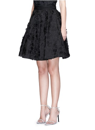 Front View - Click To Enlarge - alice + olivia - 'Earla' floral embroidery appliqué flare skirt