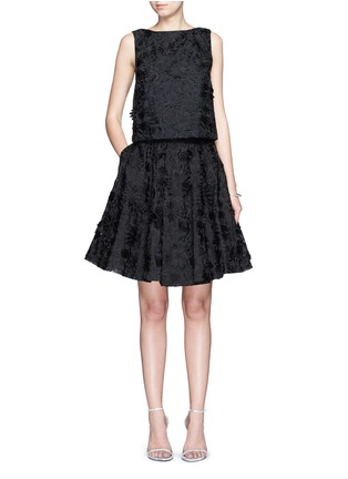 Figure View - Click To Enlarge - alice + olivia - 'Earla' floral embroidery appliqué flare skirt