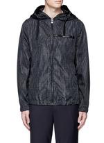 Grid print windbreaker jacket