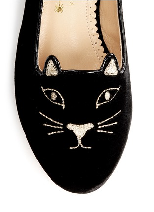 Detail View - Click To Enlarge - Charlotte Olympia Kids - 'Incy Kitty' velvet flats