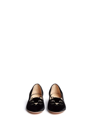 Figure View - Click To Enlarge - Charlotte Olympia Kids - 'Incy Kitty' velvet flats