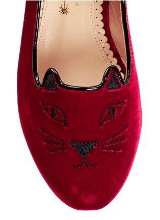 Detail View - Click To Enlarge - Charlotte Olympia Kids - 'Incy Kitty' velvet kids flats