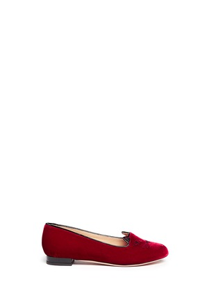 Main View - Click To Enlarge - Charlotte Olympia Kids - 'Incy Kitty' velvet kids flats