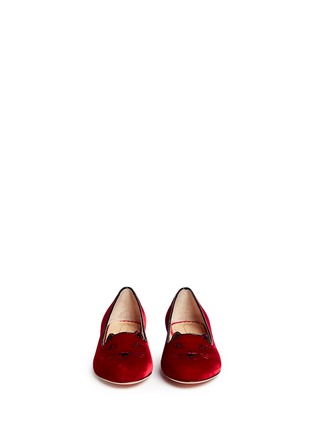 Figure View - Click To Enlarge - Charlotte Olympia Kids - 'Incy Kitty' velvet kids flats