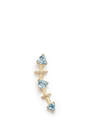 Phyne By Paige Novick - 'Marta' 18k gold diamond pavé aquamarine single climber earring