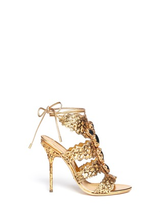 Main View - Click To Enlarge - SERGIO ROSSI - Filigree baroque jewel laser-cut sandals