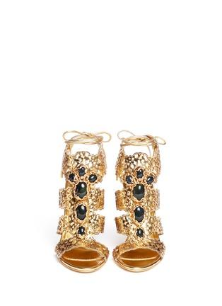 Figure View - Click To Enlarge - SERGIO ROSSI - Filigree baroque jewel laser-cut sandals