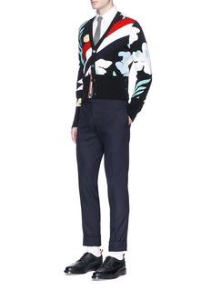 Thom BrowneFloral stripe intarsia cashmere cardigan