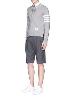 Thom Browne'Trompe-l'œil' zip hoodie embroidered sweatshirt