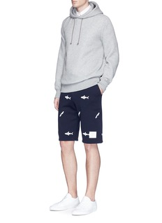 Thom BrowneShark surfboard embroidered sweat shorts