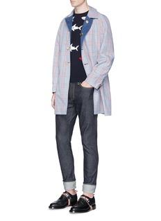 Thom BrowneShark intarsia short sleeve cotton sweater