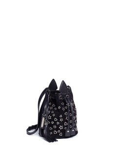 Saint Laurent 'Anja' small heart and star stud suede bucket bag