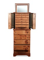 Elm briar wood jewellery armoire