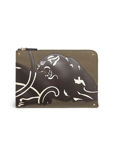 Valentino 'Rockstud' panther patch canvas document case