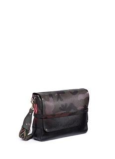 Valentino'Rockstud' camouflage print leather messenger bag