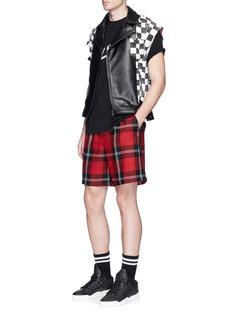 FACETASMCheck cowhide leather patchwork biker vest