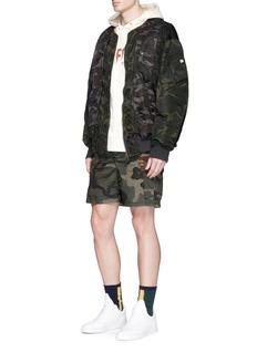 FACETASMCamouflage print oversized padded MA-1 bomber jacket