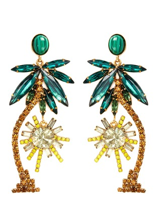 Main View - Click To Enlarge - Elizabeth Cole - 'Pamela' Swarovski crystal palm tree drop earrings