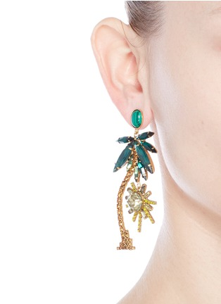Figure View - Click To Enlarge - Elizabeth Cole - 'Pamela' Swarovski crystal palm tree drop earrings