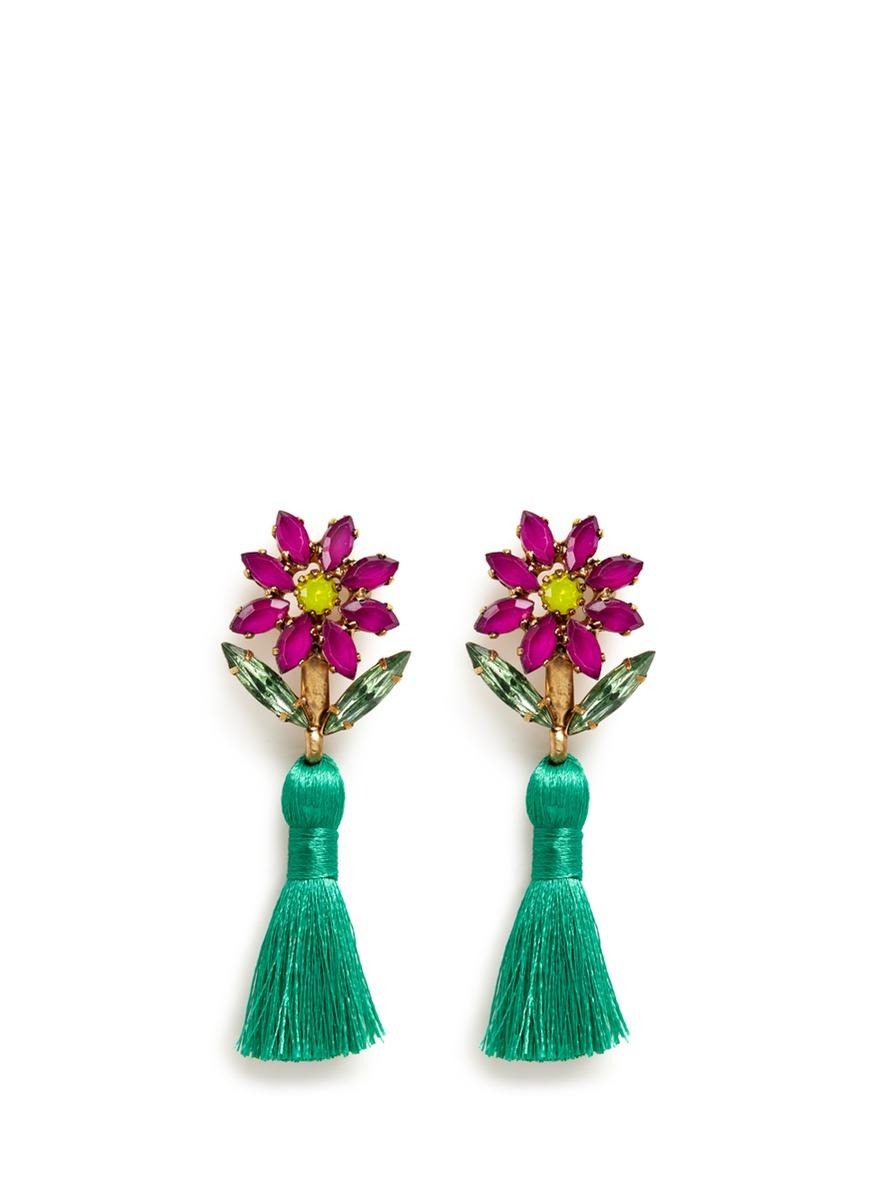 Braidynn Swarovski crystal floral tassel drop earrings by Elizabeth Cole