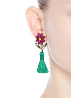 Elizabeth Cole'Braidynn' Swarovski crystal floral tassel drop earrings