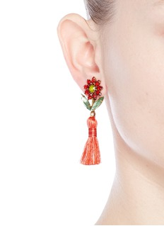 Elizabeth Cole 'Braidynn' Swarovski crystal floral tassel drop earrings
