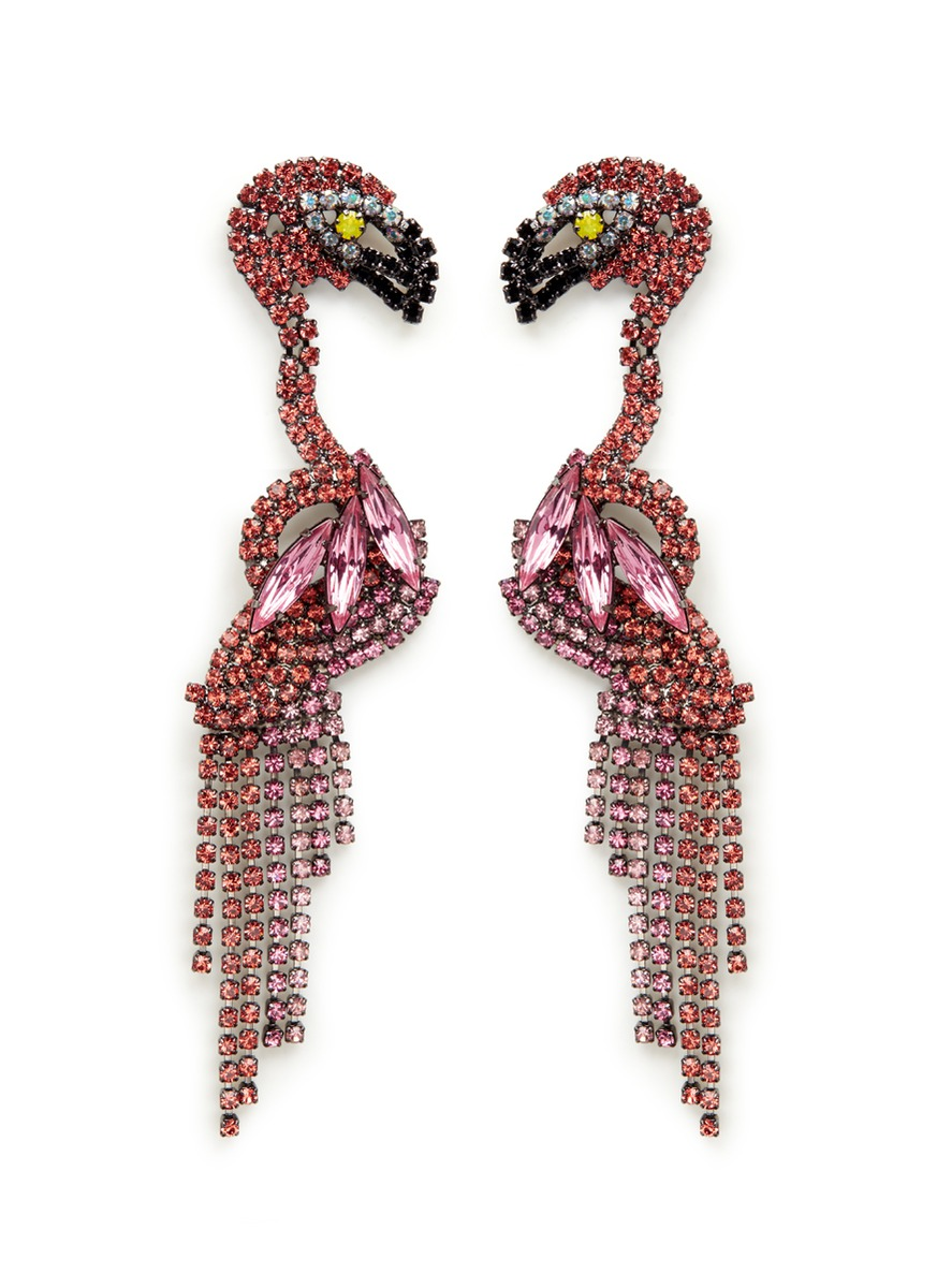 Georgy Swarovski crystal flamingo drop earrings by Elizabeth Cole