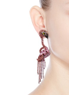Elizabeth Cole 'Georgy' Swarovski crystal flamingo drop earrings