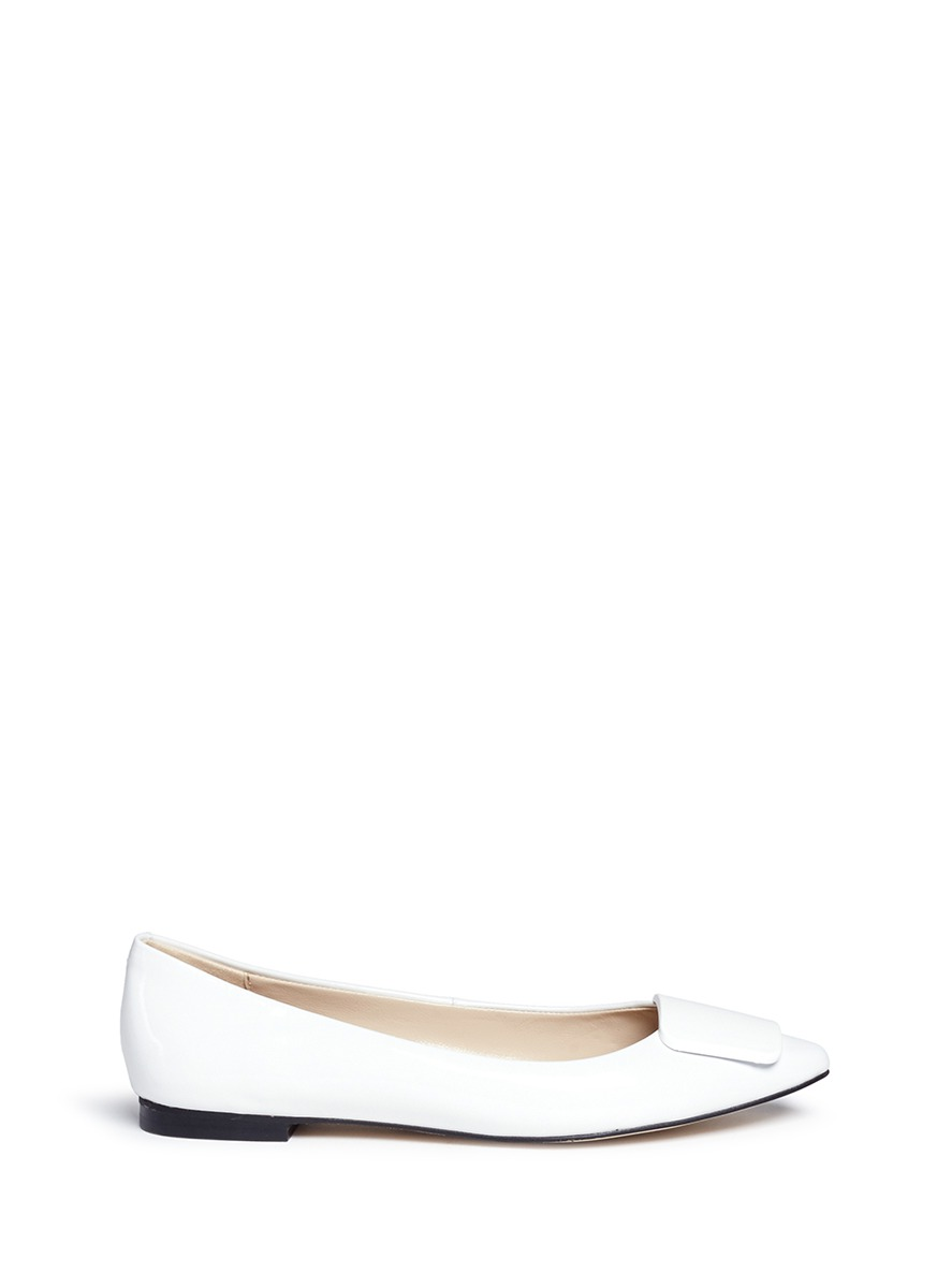 Jamie enamel plaque patent leather skimmer flats by Pedder Red