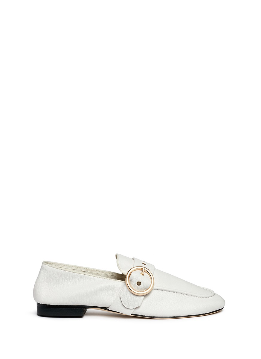 Buckle strap kid leather loafers by Pedder Red
