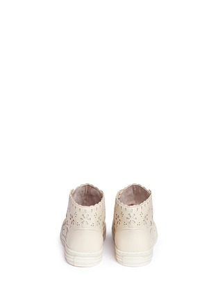 Back View - Click To Enlarge - Stella Mccartney Kids - Floral reverse appliqué high top kids sneakers