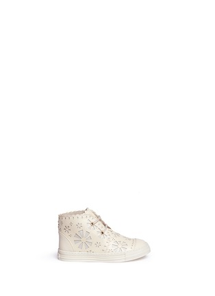 Main View - Click To Enlarge - Stella Mccartney Kids - Floral reverse appliqué high top kids sneakers