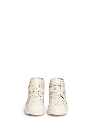 Figure View - Click To Enlarge - Stella Mccartney Kids - Floral reverse appliqué high top kids sneakers