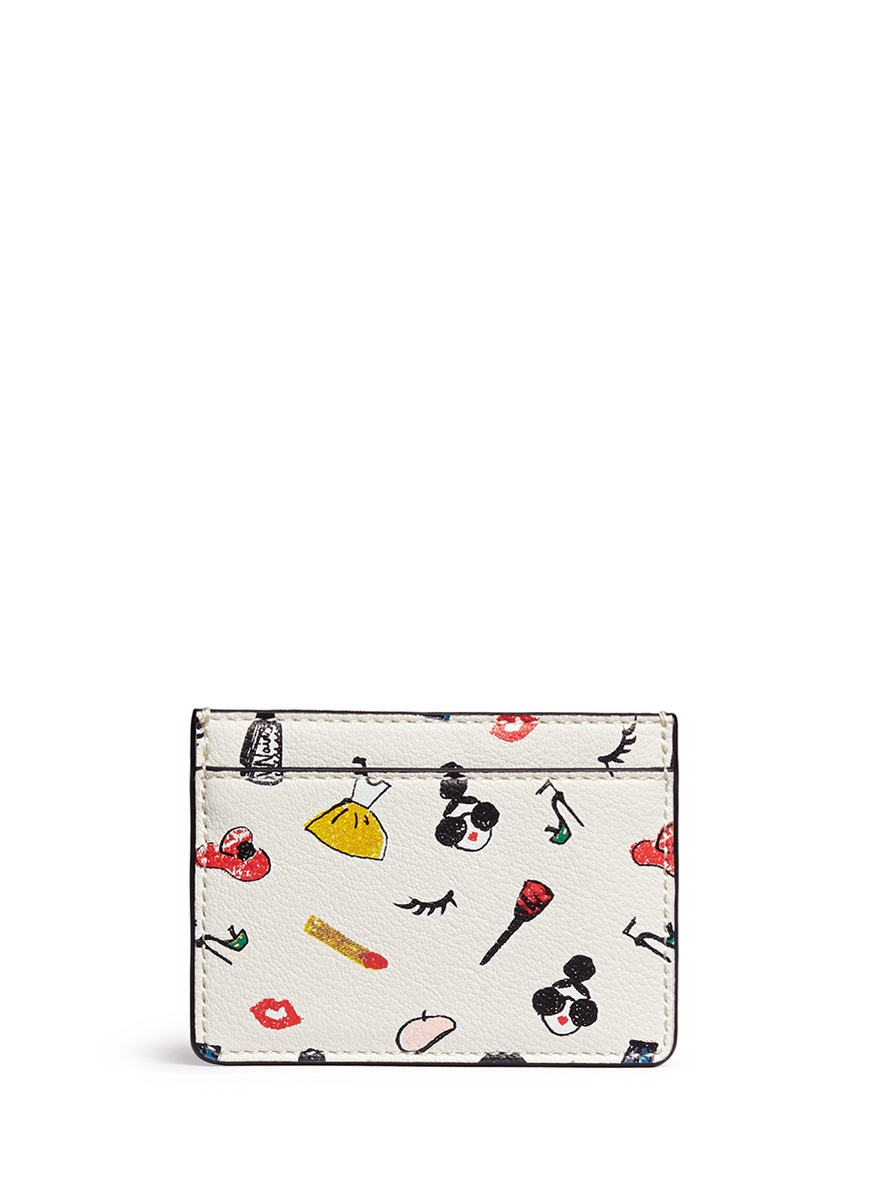 Stacey print leather card holder by alice + olivia
