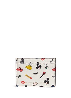 alice + olivia 'Stacey print' leather card holder