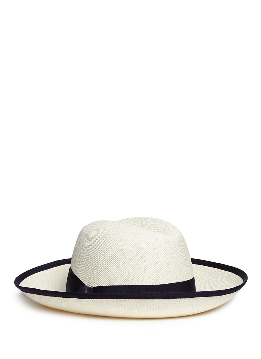 Claudette grosgrain bow straw Panama hat by Borsalino
