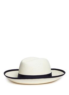 Borsalino'Claudette' grosgrain bow straw Panama hat