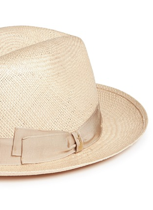 Detail View - Click To Enlarge - Borsalino - 'Quito' grosgrain bow straw Panama hat