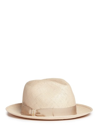 Main View - Click To Enlarge - Borsalino - 'Quito' grosgrain bow straw Panama hat