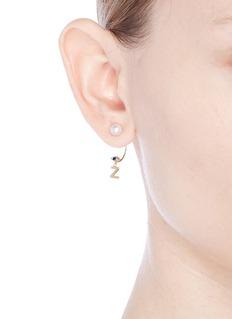 Delfina Delettrez 'ABC Micro Eye Piercing' freshwater pearl 18k yellow gold single earring – Z