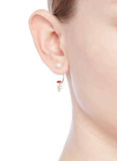 Delfina Delettrez 'ABC Micro Lips Piercing' freshwater pearl 18k yellow gold single earring – F